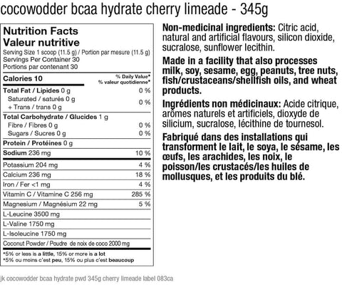 JaktRx CocoWodder BCAA Hydrate Cherry Limeade Nutrition Facts