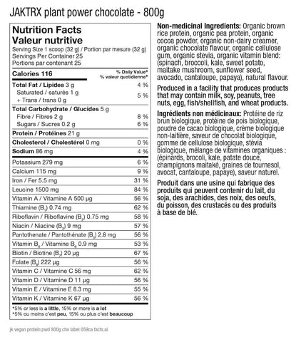 JaktRx Plant Power Natural Chocolate Vegan Protein Nutrition Facts