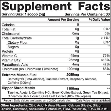JNX Sports The Ripper Nutrition Facts at Supplement Superstore Canada