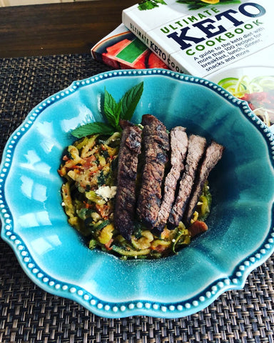 Keto meal in blue bowl next to keto cook book