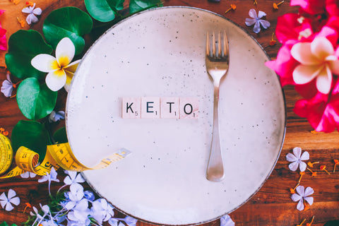 """""""Keto"""" spelt out next to fork on plate"""