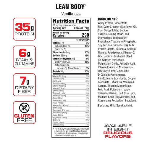 Labrada Lean Body Meal Replacement Nutrition Facts at Supplement Superstore Canada
