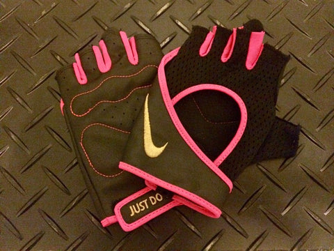 Nike black and pink weight lifting gloves