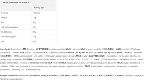 M&M's Protein Bar Nutrition Facts at Supplement Superstore Canada