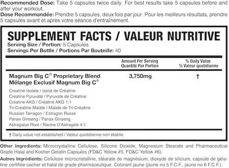 Magnum Big C Nutrition Facts at Supplement Superstore Canada