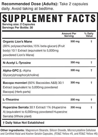 Magnum Mane Brain Nutrition Facts at Supplement Superstore Canada