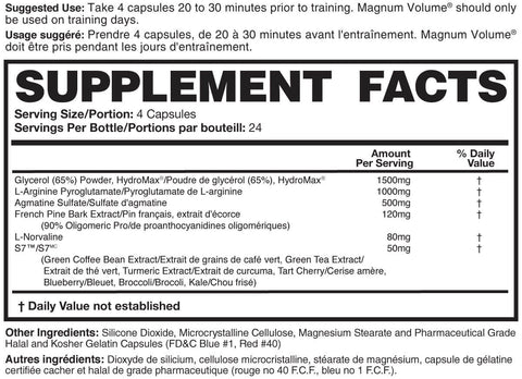 Magnum Nutraceuticals Volume Pump Intensifier Nutrition Facts at Supplement Superstore Canada