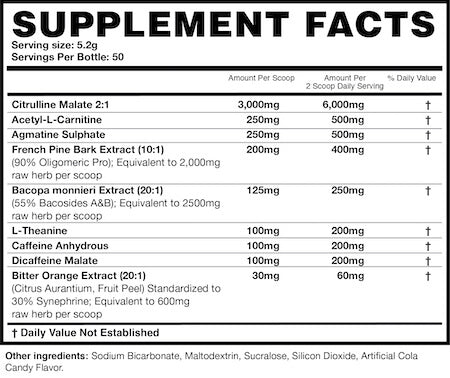 Magnum Pre-Fo Nutrition Facts at Supplement Superstore Canada