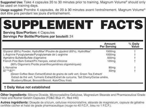 Magnum Volume Nutrition Facts at Supplement Superstore Canada
