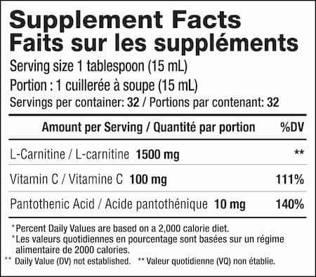 Mammoth L-Carnitine 1500 Nutrition Facts at Supplement Superstore Canada
