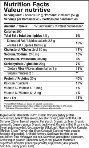 Mammoth Meal Nutrition Facts at Supplement Superstore Canada