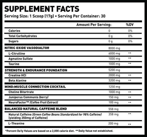 MAN Sports Game Day Pre Workout Nutrition Facts at Supplement Superstore Canada