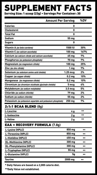 MAN Sports Iso EAA and BCAA Nutrition Facts