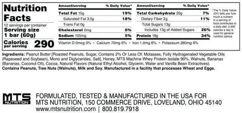 MTS Nutrition Outright Bar Nutrition Facts