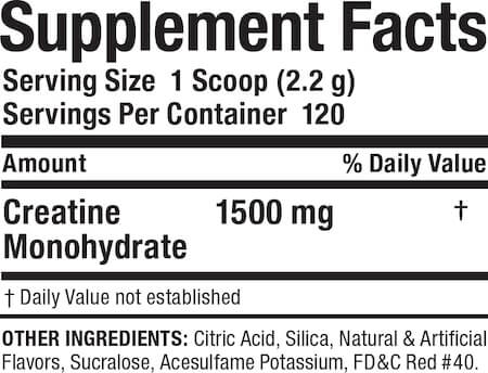MuscleMaxx Creatine Monohydrate Nutrition Facts at Supplement Superstore Canada