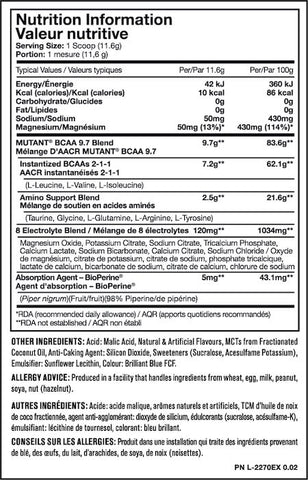 Mutant BCAA 9.7 Nutrition Facts at Supplement Superstore Canada