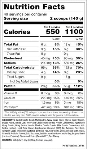 Mutant Mass Nutrition Facts at Supplement Superstore Canada