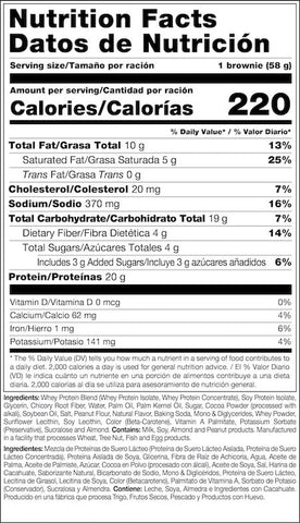 Mutant Protein Brownie Nutrition Facts at Supplement Superstore Canada