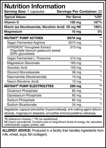 Mutant Pump Nutrition Facts at Supplement Superstore Canada