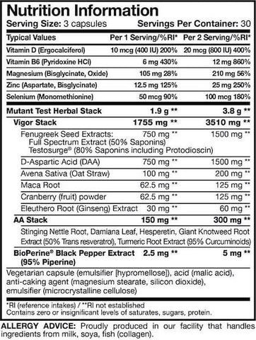 Mutant Test Nutrition Facts at Supplement Superstore Canada