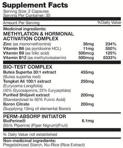 Naturally Canadian Androgenix Nutrition Facts at Supplement Superstore Canada