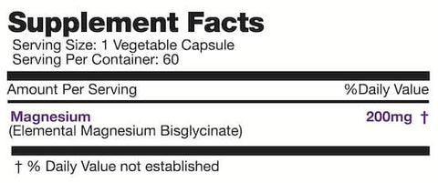 Naturally Canadian Magnesium Bisglycinate Nutrition Facts at Supplement Superstore Canada