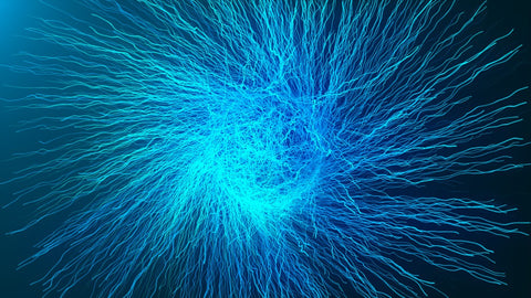 A reaction happening inside the brain of a blue ball like figure with strings shooting out