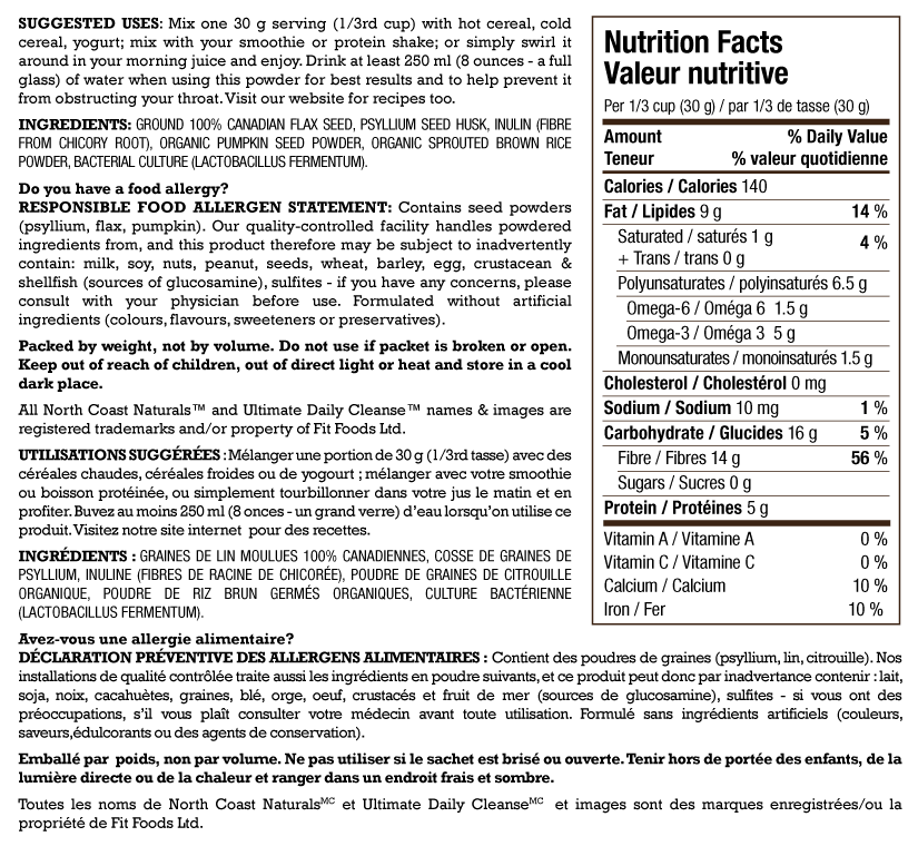 North Coast Naturals Daily Cleanse Nutrition Facts Supplements Canada