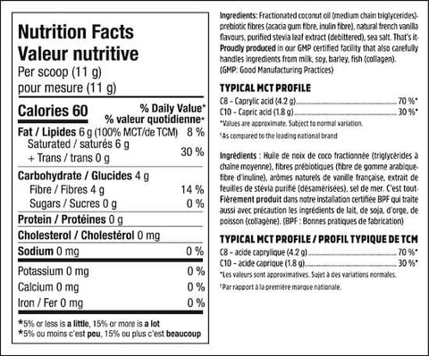 North Coast Naturals MCT Powder Nutrition Facts at Supplement Superstore Canada