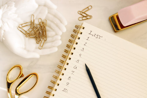 Notebook with written numbered list