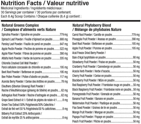 Nutraphase Clean Greens and Berries Nutrition Facts at Supplement Superstore Canada