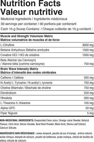 Nutraphase Clean Pre-Train Nutrition Facts at Supplement Superstore Canada