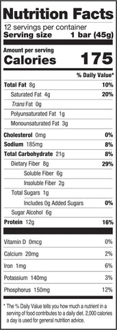 ONE Brands ONE Plant Bar Nutrition Facts