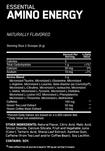 Optimum Nutrition Amino Energy Naturally Flavoured BCAA Energy and Weight Loss Support Nutrition Facts at Supplement Superstore Canada