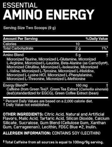 Optimum Nutrition Amino Energy Nutrition Facts at Supplement Superstore Canada