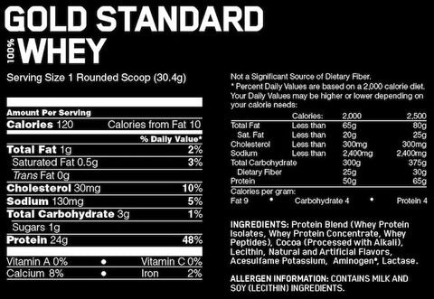 Optimum Nutrition Gold Standard Whey Protein Nutrition Facts at Supplement Superstore Canada