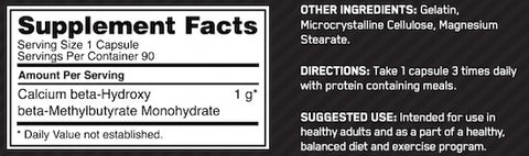 Optimum Nutrition HMB Nutrition Facts at Supplement Superstore Canada