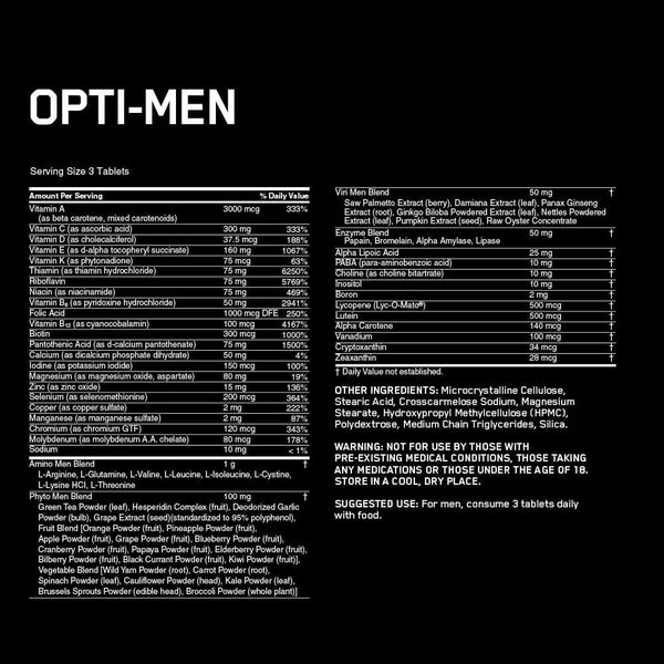 Optimum Nutrition Opti-Men Multi Vitamin Nutrition Facts