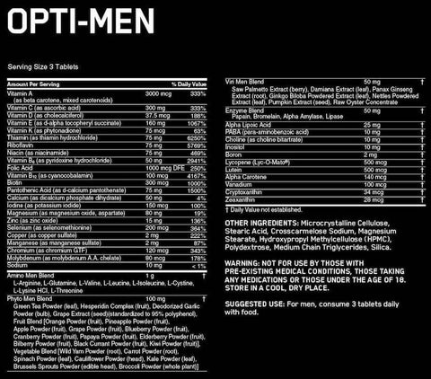 Optimum Nutrition Opti-Men Nutrition Facts at Supplement Superstore Canada