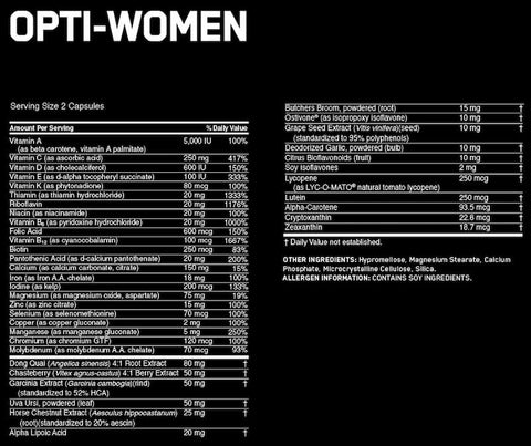 Optimum Nutrition Opti-Women Nutrition Facts at Supplement Superstore Canada