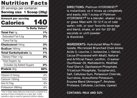 Optimum Nutrition Platinum HydroWhey Nutrition Facts at Supplement Superstore Canada
