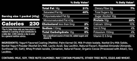 Optimum Nutrition Protein Almonds Nutrition Facts at Supplement Superstore Canada
