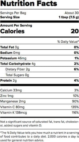 Outcast Foods Broccoli Powder Nutrition Facts at Supplement Superstore Canada