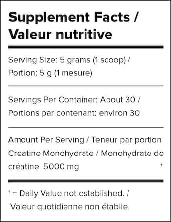 Outcast Foods Just Creatine Nutrition Facts at Supplement Superstore Canada