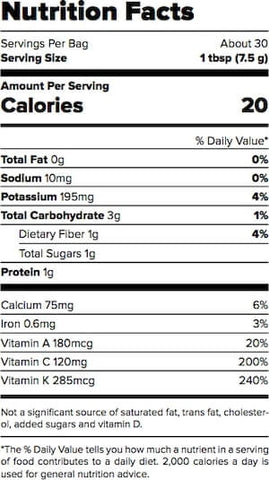 Outcast Foods Kale Powder Nutrition Facts at Supplement Superstore Canada
