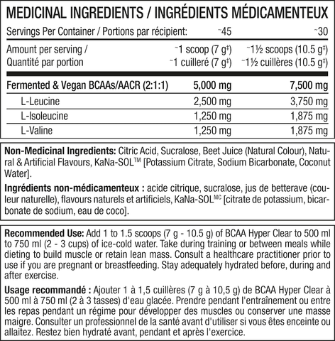 Perfect Sports BCAA Hyper Clear Nutrition Facts