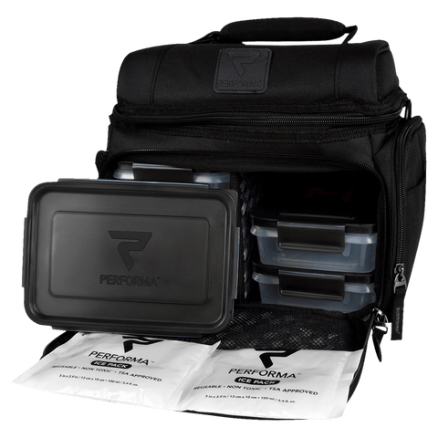 Meal prep bag from Performa Brands for storing supplements and meals