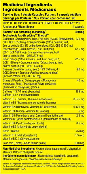 PharmaFreak Ripped Freak 2.0 Fat Burner Nutrition Facts at Supplement Superstore Canada