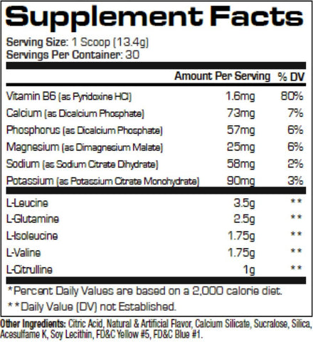 ProSupps HydroBCAA Nutrition Facts