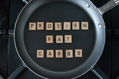"""""""Protein, carbs, fats"""" spelt out of wooden cubes in pan"""